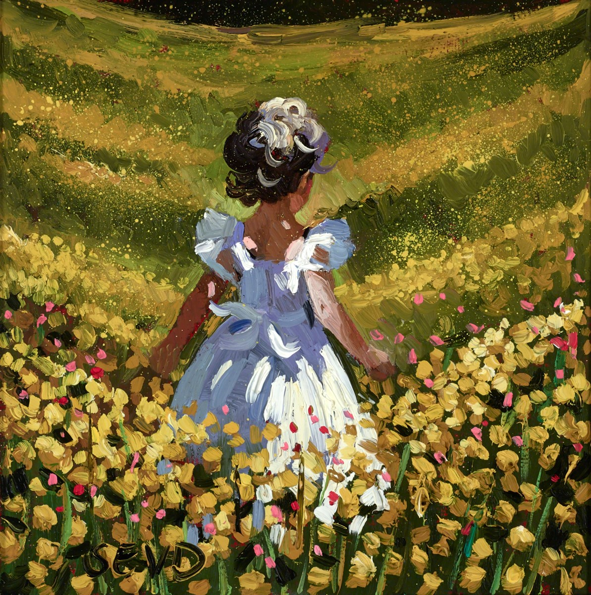 Meadow of Golden Flowers by sherree valentine daines -  sized 8x8 inches. Available from Whitewall Galleries